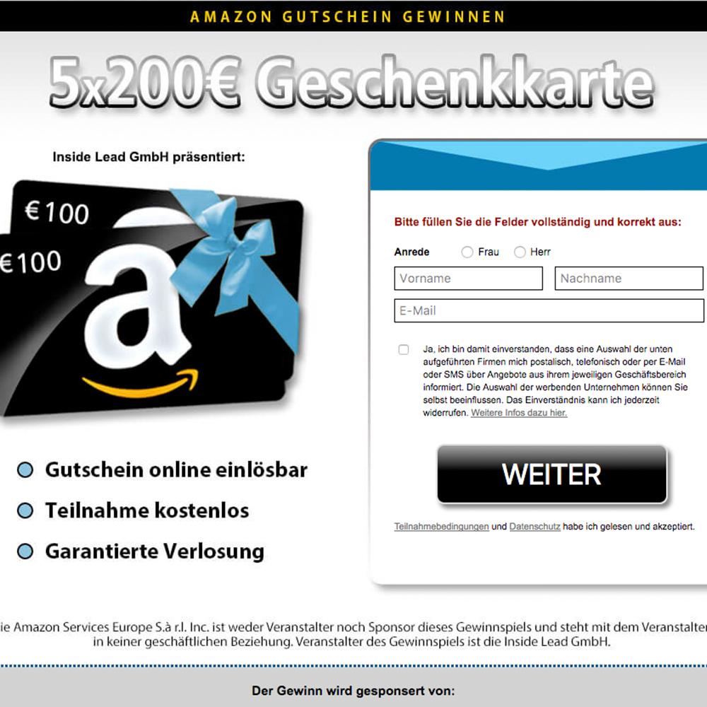 Amazon-Gutschein Gewinnspiel (non incent) - AT