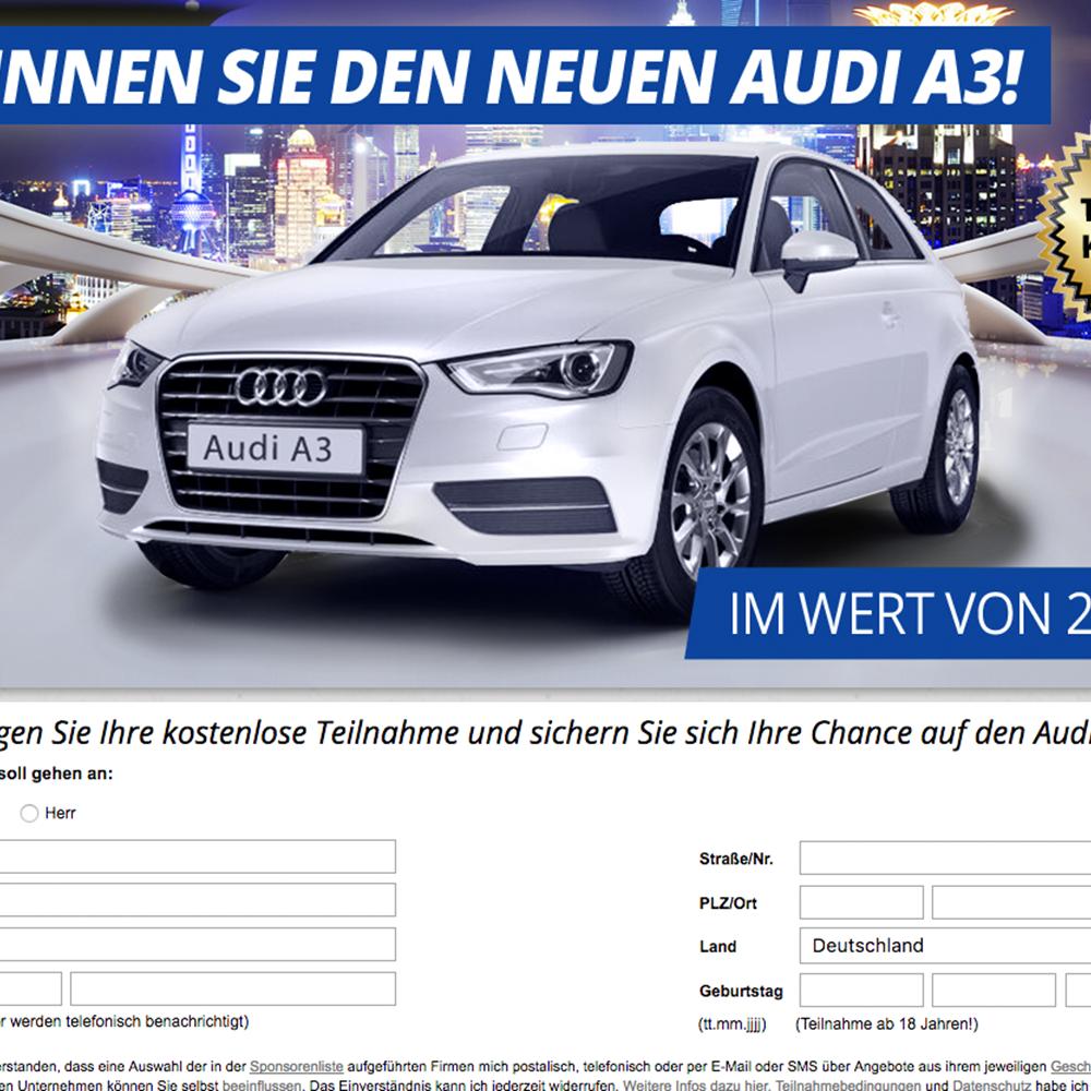 Audi A3 - Wunschauto Gewinnspiel (non incent) - AT